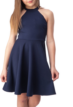 Un Deux Trois Girl's Halter Keyhole-Back Dress, Size 7-16