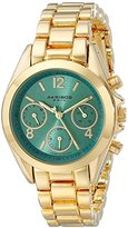 Akribos XXIV Women's AK809YGTQ Multifunction Swiss Quartz Movement Watch with Turquoise Dial and Yellow Gold Bracelet