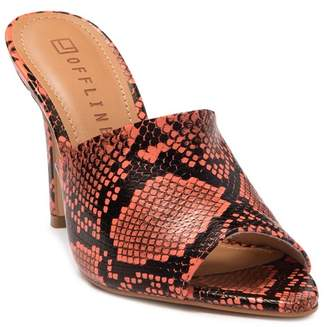 OFFLINE SHOES Snakeskin Embossed Stiletto Sandal