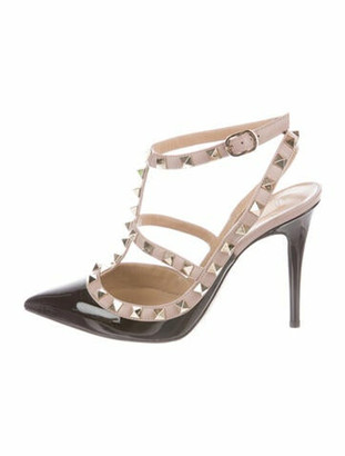 Valentino Patent Leather Studded Accents T-Strap Pumps Black