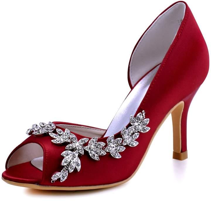 ElegantPark HP1542 Women Peep Toe Rhinestones Pumps High Heel Satin Wedding Bridal Dress Shoes Navy Blue US 6