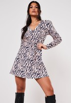 Missguided Pink Zebra Button Through Skater Dress
