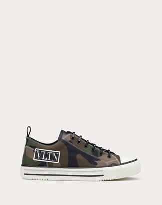 Valentino Garavani Uomo Giggies Camouflage Low-top Fabric Sneaker Man Military Green Cotton 100% 42