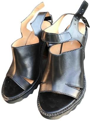 Carven Black Leather Sandals