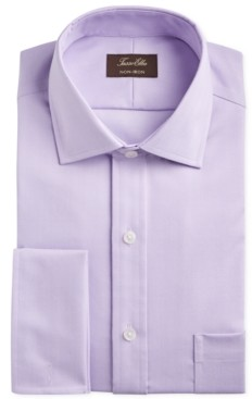 Tasso Elba Men's Classic/Regular-Fit Non-Iron Supima Cotton Herringbone Solid French Cuff Dress Shirt, Created for Macy's
