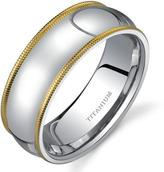 Ice Men's White Titanium Ring Band with Gold-Tone Milgrain Edging