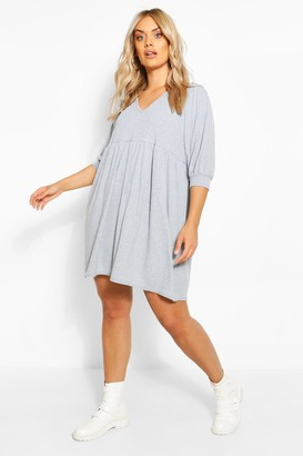 boohoo Plus Puff Sleeve Rib Smock Dress