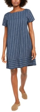 Eileen Fisher Variegated Stripe Bateau-Neck Dress, Created for Macy's