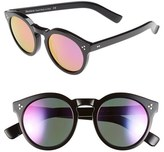 Illesteva Women's 'Leonard Ii' 50Mm Round Mirrored Sunglasses - Black/ Green
