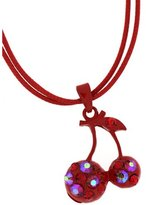 PYNK JEWELLERY Siam Red and AB Crystal Cherry Pendant Necklace