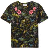 Gucci Slim-fit Appliquéd Tropical-print Linen-jersey T-shirt