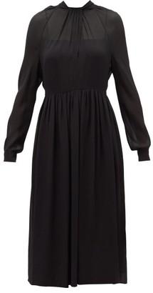 Prada Neck-tie Silk-crepe Midi Dress - Black