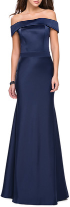La Femme Off-the-Shoulder Short-Sleeve Satin Gown w/ Flared Skirt
