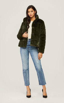 Soia & Kyo BEA low-hip-length faux fur jacket with stand collar