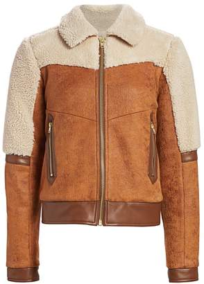 Mother Faux Shearling-Trim Faux Suede Bomber Jacket