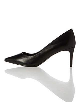 find. Point Mid Heel Leather Court Closed-Toe Pumps