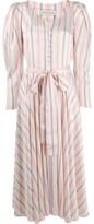 Etro puff sleeve striped dress