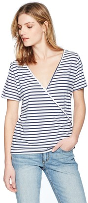 Monrow Women's Stripe Tee with Crossover Back