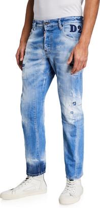 DSQUARED2 Men's Tidy Biker Rip/Repair Jeans