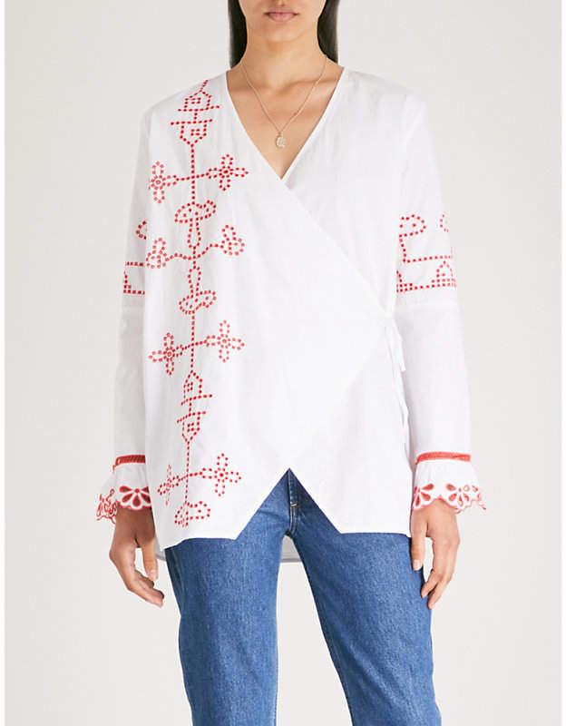 Ganni Peony cotton-poplin wrap blouse