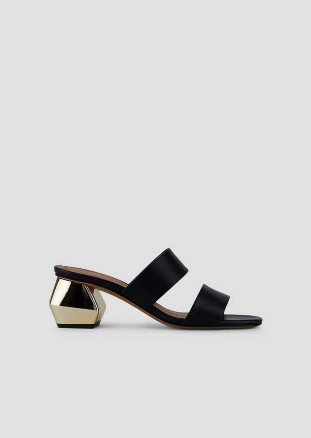 ae7d3f5db3 Sandals In Nappa Leather With Two Bands And Chrome-Plated Hexagonal Heel