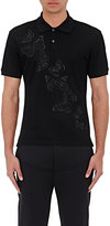 Alexander McQueen Men's Moth-Embroidered Cotton Polo Shirt-BLACK