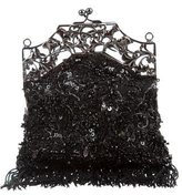 Badgley Mischka Embellished Fringed Clutch