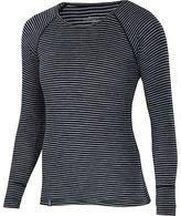 Ibex Woolies 1 Crew - Long-Sleeve - Women's Black/Medium Heather Grey Stripe XL