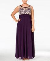 Xscape Evenings Plus Size Embellished Illusion Empire Dress