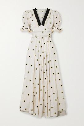 Lug Von Siga Sabrina Belted Embroidered Metallic Fil Coupe Cotton-blend Midi Dress - Ecru