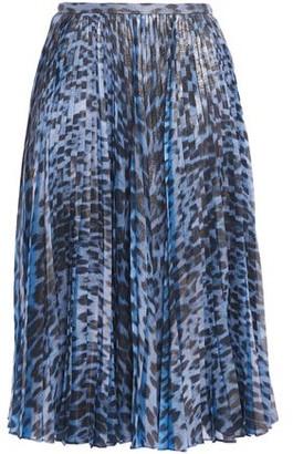 Roberto Cavalli Pleated Coated Leopard-print Crepe De Chine Midi Skirt