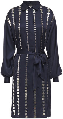 Just Cavalli Belted Embellished Satin Shirt Dress