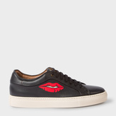 Paul Smith Men's Black Leather 'Basso' Sneakers With Lips Print