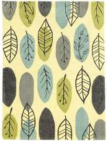 Linon Le Soliel Tropical Blues Leaf Indoor Outdoor Rug