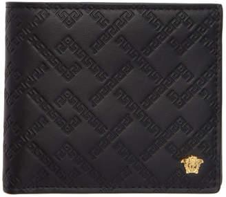 Versace Black and Gold Greek Key Wallet