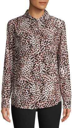 Lord & Taylor Petite Long-Sleeve Animal Print Shirt