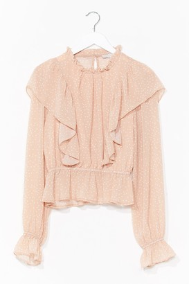 Nasty Gal Womens Gave It Our Best Spot Ruffle High Neck Blouse - Beige - L