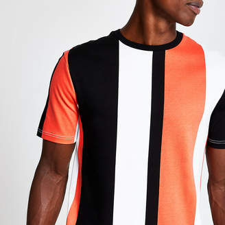 River Island White colour block stripe T-shirt