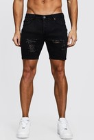 boohoo Mens Grey Skinny Fit Denim Shorts With Distressing, Grey