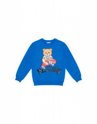 Moschino Skateboarder Teddy Bear Sweatshirt Unisex Blue Size 4a It - (4y Us)