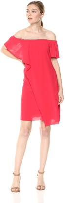 Adrianna Papell Women's Gauzy Crepe Off The-Shoulder Draped Dress Geranium 8