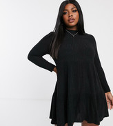 Simply Be smock dress with tiered skirt in black