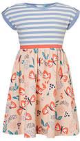 John Lewis Girls' Butterfly Stripe Dress, Blue/Pink