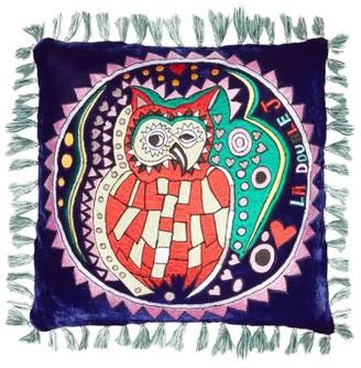 La DoubleJ Athena Small Embroidered Velvet Cushion - Navy Print
