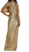 Thumbnail for your product : Pamella Roland Sequin-Embellished Cape Gown