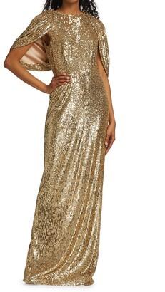 Pamella Roland Sequin-Embellished Cape Gown