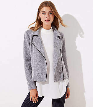LOFT Textured Knit Moto Jacket