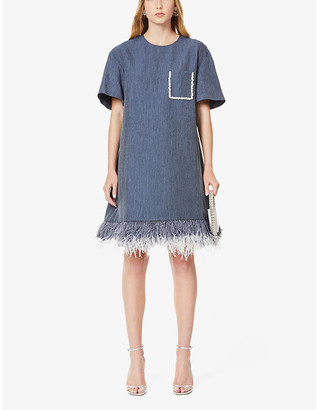 Huishan Zhang Alba feather-trimmed woven mini dress