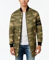 Sean John Men's Reversible Elongated Black and Camo Bomber Jacket