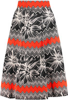 Milly Lana printed cotton-twill midi skirt